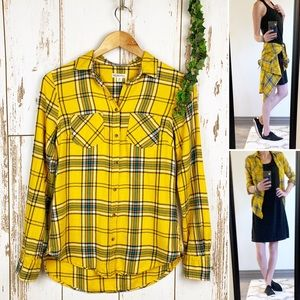 Mustard Yellow Long Plaid Flannel NWOT Button Down